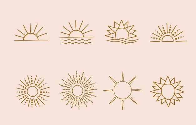 Коричневая линия логотипа солнца с полной и половиной