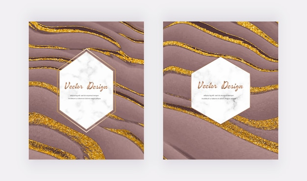 Brown liquid with golden glitter ink design cards with geometric white marble frames.