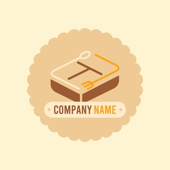 Brown lunch box logo vector template with spoon and fork in light cream background