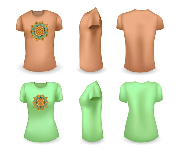 Brown male and green female t shirt realistic template with mandala front side and back view vector