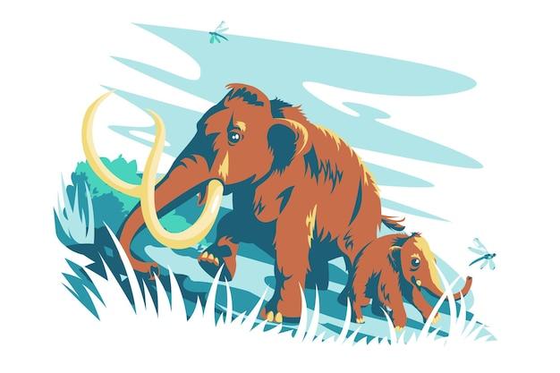 茶色の哺乳類の動物のキャラクターのベクトル図大きな大人のマンモスと赤ちゃんのフラットスタイルの巨大な牙と大きな角の野生動物と自然の概念が分離されました