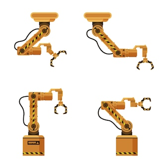 Brown metal mechanical robotic packing claw set