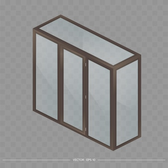 Brown metal-plastic balcony in isometry. french balcony project. realistic style