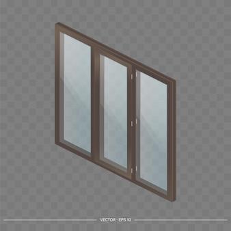Brown metal-plastic window with transparent glasses in 3d. Premium Vector