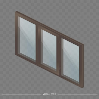 Brown metal-plastic window with transparent glasses in 3d.
