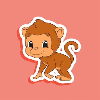 Brown monkey. bright color sticker of a cute cartoon character.