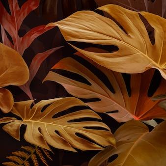 Brown monstera deliciosa leaves design resource