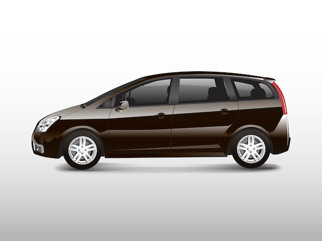 Brown mpv minivan automobile vector