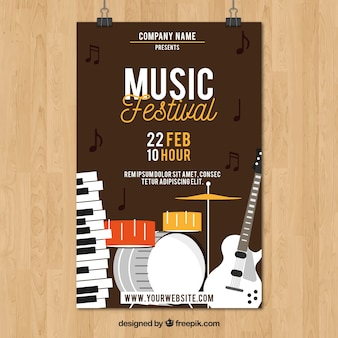 Brown music poster template