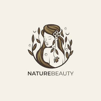 茶色の自然の美しさの女性のロゴのテンプレート
