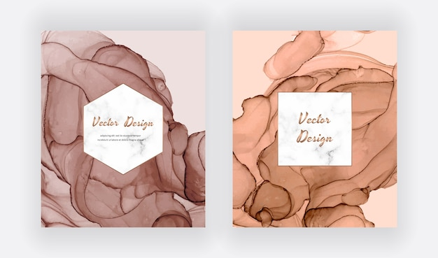 Brown and nude alcohol ink cards with geometric marble frame. modern abstract watercolor design.