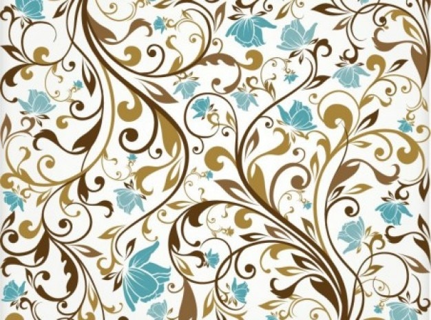 Brown ornaments with turqoise flowers background