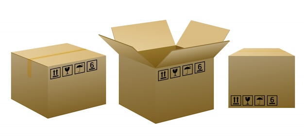 Brown packaging boxes with warning signs