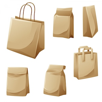 Brown paper bags cartoon design collection
