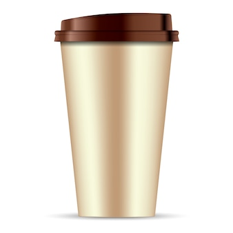 Brown paper coffee cup isolated