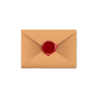 Brown paper letter envelope with dark red wax seal on white