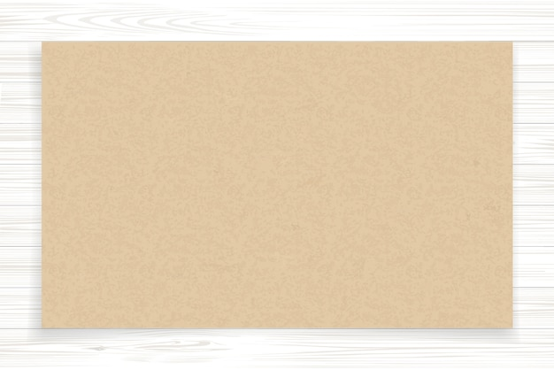 Brown paper sheet on white wood.