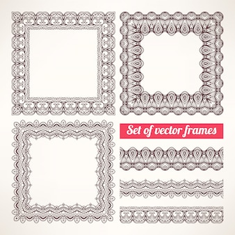 Brown patterned frames