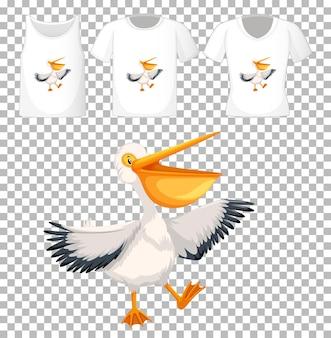 Pellicano bruno nel personaggio dei cartoni animati di posizione stand con molti tipi di camicie su sfondo trasparente