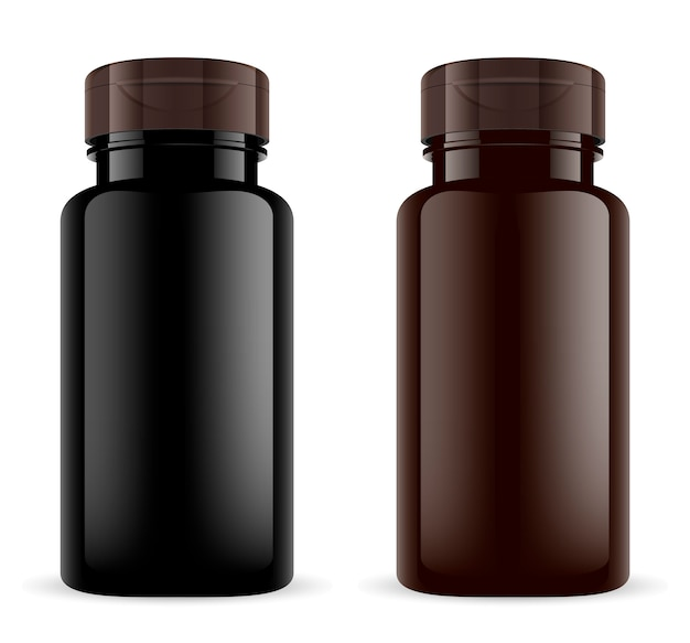 Brown pill bottle. amber plastic 3d sport drug jar