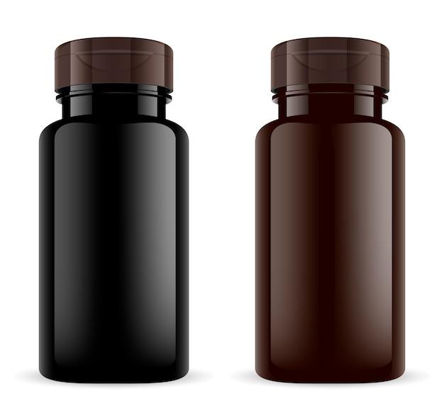 茶色の薬瓶。琥珀色のプラスチック製の3dスポーツ薬瓶