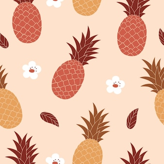 Brown pineapples on a light background seamless pattern