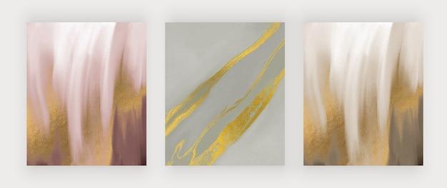 ゴールドのキラキラテクスチャーを備えたブラウン、ピンク、グリーンのブラシストローク水彩画。