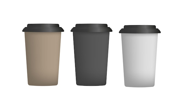 Brown plastic cup for coffee in 3d. paper coffee cup vector. isolated.