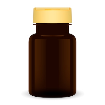 Brown plastic pill bottle. 3d medical can package.