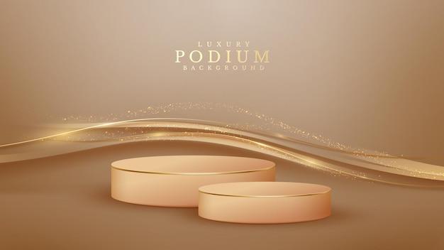 반짝이는 황금 곡선 라인이 있는 갈색 연단, 3d 스타일의 사실적인 럭셔리.
