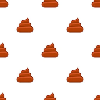 Brown poos white background seamless pattern