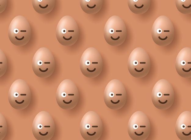 黄色の茶色のリアルなイースターエッグ絵文字笑顔