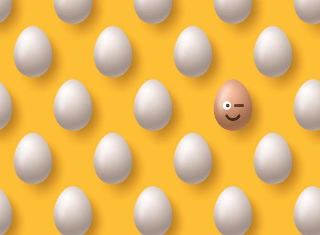 Brown realistic easter eggs emoji smile on yellow