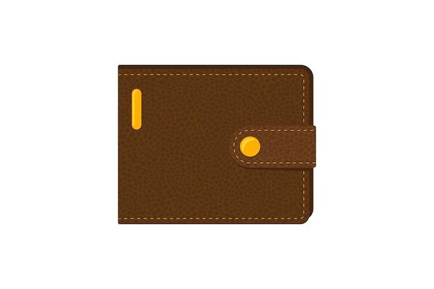 돈을 위한 갈색 현실적인 가죽 지갑. 벡터 현금 지갑 고립 된 그림