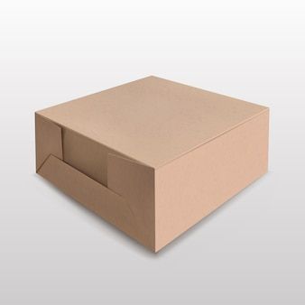 Brown recyclable paper box for mockup on white suitable for various products gift boxes, premium boxes, green boxes.