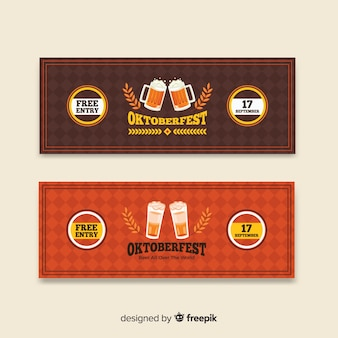 Brown and red oktoberfest banners