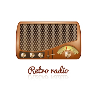 Brown retro classic radio with speaker and sound tuner