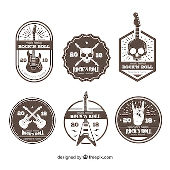 Brown rock music logo collection