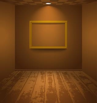フレームと茶色の部屋