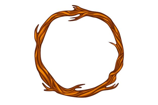 Коричневый круглый сухой венок с ветвями деревьев. пустой венок из деревянных веток.