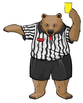 Brown russian bear soccer referee whistles and shows yellow card