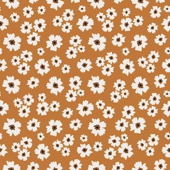 白い花と茶色のシームレスパターン