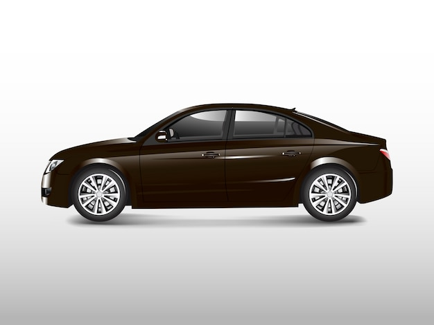 Brown sedan car isolated on white vector