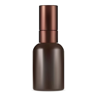 Brown serum bottle. amber collagen container mockup. essential oil cosmetic flacon with pipette. eyedropper flask vector design for liquid parfume. skin cosmetic vial mock up