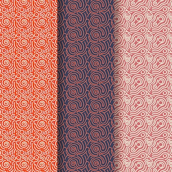Brown shades of rounded lines pattern collection