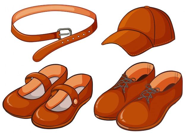 Коричневые туфли и пояс Бесплатные векторы