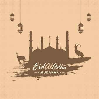 Brown silhouette mosque with brush effect goat, camel and lanterns hang on pastel peach islamic pattern background.
