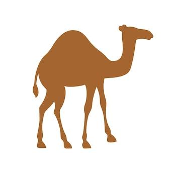 갈색 실루엣 한 고비 낙타 만화 동물 디자인 평면 벡터 일러스트 레이 션 흰색 배경에 고립.