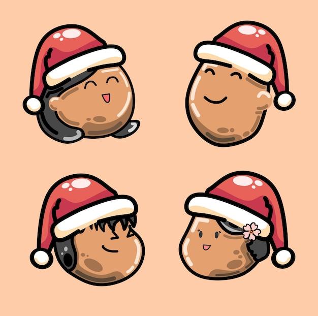 サンタクロースの帽子をかぶったクリスマスの日に茶色の肌の幸せな家族