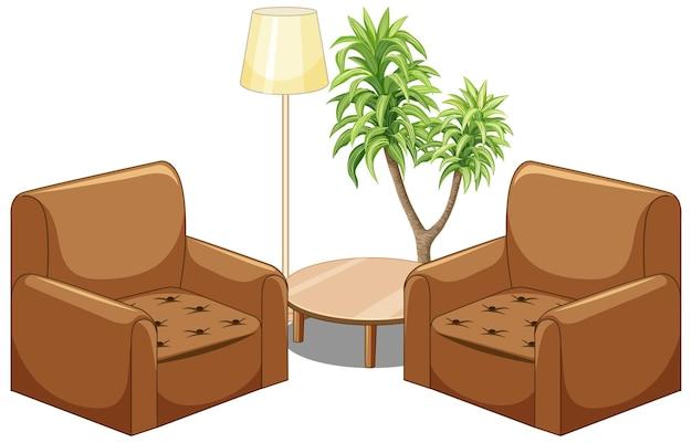 Коричневый диван мебель с лампой и деревом, изолированные на белом фоне